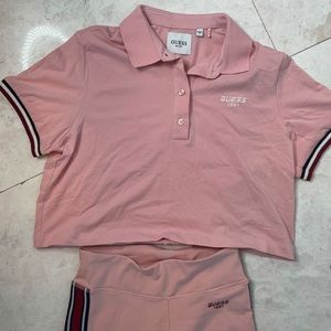 Guess athletic pants and collared top set
